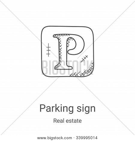 parking sign icon isolated on white background from real estate collection. parking sign icon trendy