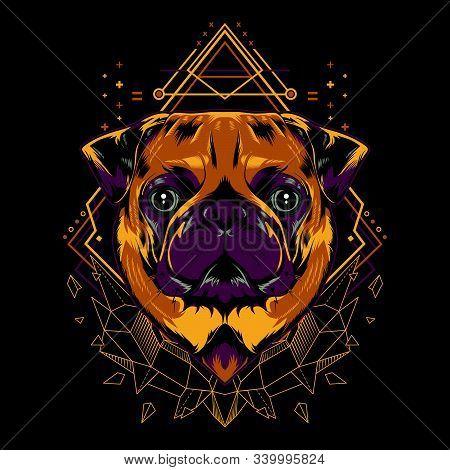 Cute pug dog mandala geometry vector illustration on black background for t-shirt, sticker, posters. Animal tattoo style