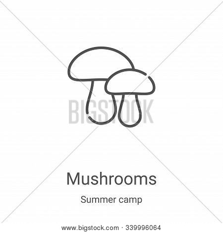 mushrooms icon isolated on white background from summer camp collection. mushrooms icon trendy and m