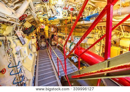 San Diego, Navy Pier, California, Usa - August 1, 2018: Torpedoes Housed Inside Cccp Soviet Submarin