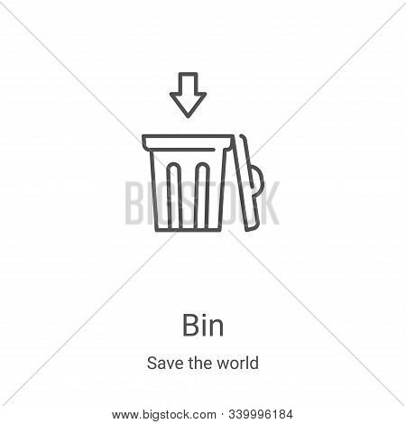bin icon isolated on white background from save the world collection. bin icon trendy and modern bin