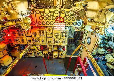 San Diego, Navy Pier, California, Usa - August 1, 2018: Machine Room Of Cccp Soviet Submarine B-39 A