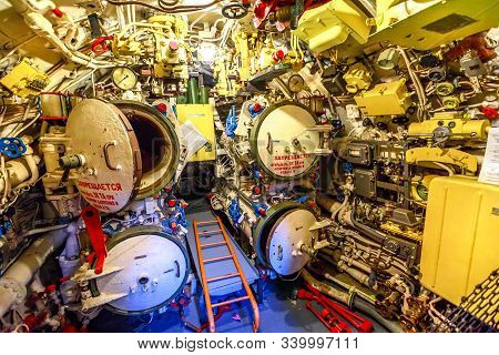 San Diego, Navy Pier, California, Usa - August 1, 2018: Arsenal Room With Torpedoes Of Cccp Soviet S