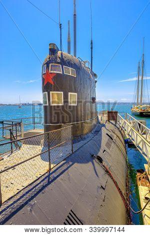 San Diego, Navy Pier, California, Usa - August 1, 2018: Cccp Soviet Submarine B-39. San Diego Histor