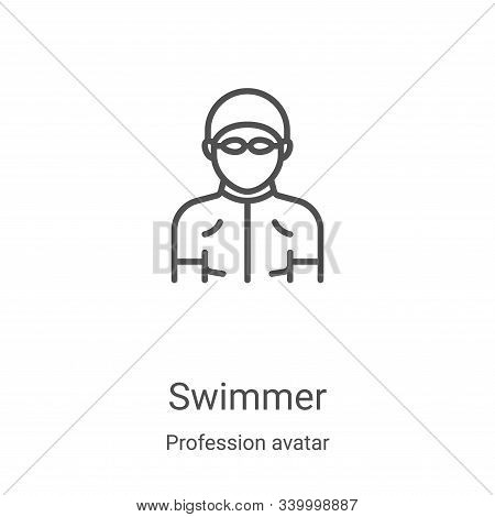 swimmer icon isolated on white background from profession avatar collection. swimmer icon trendy and