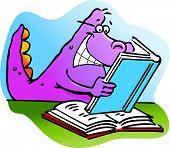 Cartoon illustration of a dinosaur reading a book poster