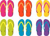 six pairs of colorful flip flops to choose from poster