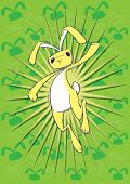 Three images of an Easter BUnny leaping (colours on separate layers in EPS). poster