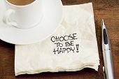 choose to be happy advice - a doodle handwriting on a napkin with a cup of coffee poster