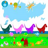 dinosaurs and other little animals on a field poster