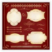 Set of 4 aged labels with embellishment and various ornate dividers, borders, frames and calligraphic elements. Perfect to embellish your designs, invitations, or announcements, etc. EPS10 poster