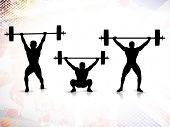 Sequence of weight lifting, silhouette of a weight lifter on grungy colorful background. EPS 10. poster
