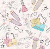 Cute fashion seamless pattern for girls. Pattern with shoes bags cosmetic makeup elements glasses and birds. poster