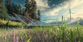 Environmentally Friendly Installation Of Photovoltaic Power Plant And Wind Turbine Farm Situated In