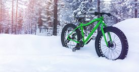 Winter Adventures - Fat Bike Standing In The Snow On Snowy Finland Lapland Forest Background. Copy S