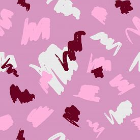 Seamless Geometric Pattern With Abstract Brush Strokes On Pink Background.