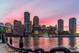 Boston Skyline And Fort Point Channel At Sunset As Viewed Fantastic Twilight Or Dusk Time From Fan P