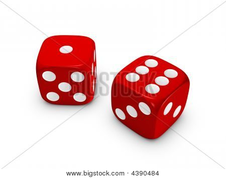 Red Dice On White Background