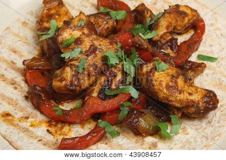 Chicken tikka curry chapatti open wrap