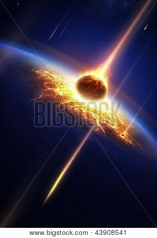 Earth in a  meteor shower (Elements of this image furnished by NASA- earthmap for render  from http://visibleearth.nasa.gov)