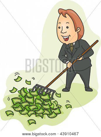Illustration of a Businessman Raking Heaps of Money