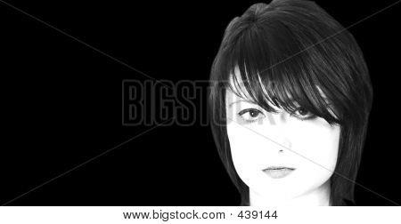 High Key Black And White Head Shot