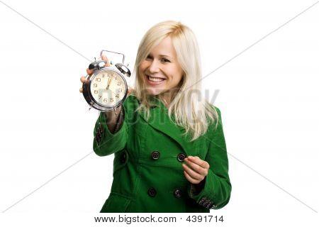 Beautiful Smiling Woman Holding Clock