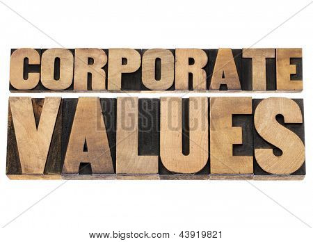 corporate values - business ethics and integrity concept - isolated text in vintage letterpress wood type printing blocks