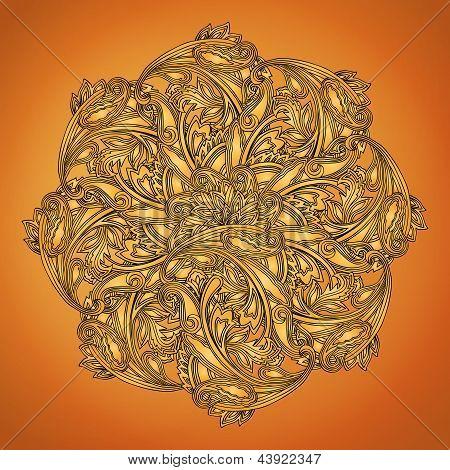 Indian henna round design element on brown background poster