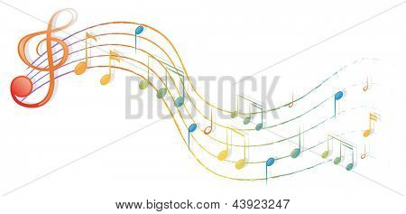 Illustration of the musical notes and the G-clef on a white background