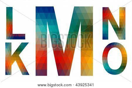 Mosaic Alphabet Letters K, L, M, N, O