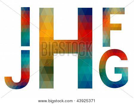 Mosaic Alphabet Letters I, J, H, F, G