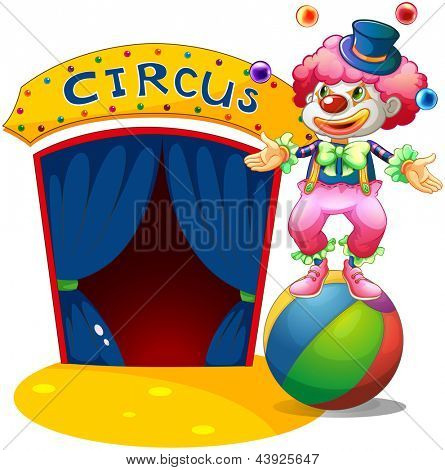 Illustration of a clown at the top of a stripe ball on a white background