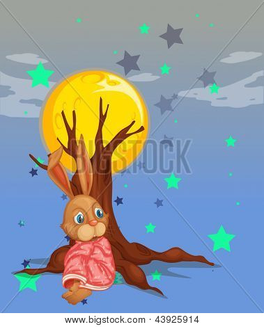 Illustration of a bunny resting beside the big tree