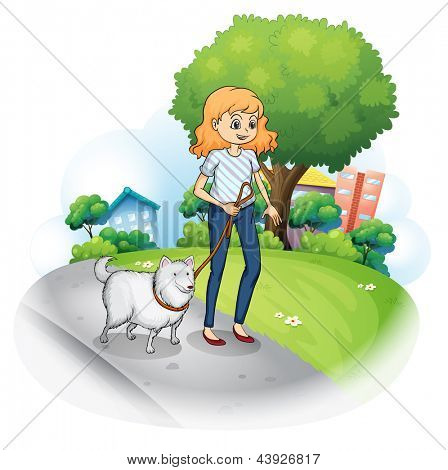 Illustration of a lady strolling with her dog on a white background
