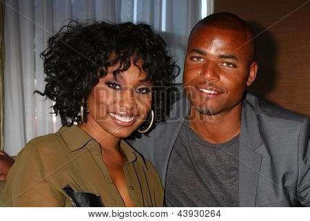 LOS ANGELES - FEB 27:  Angell Conwell, Redaric Williams at the Hot New Faces of the Young and the Restless press event at the CBS Television City on February 27, 2013 in Los Angeles, CA