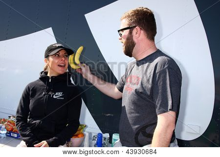 LOS ANGELES - MAR 23:  Kate del Castillo, Rutledge Wood during a break at the Toyota Pro/Celebrity Race training at the Willow Springs International Speedway on March 23, 2013 in Rosamond, CA