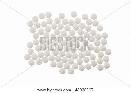 white tablets, symbolic photo for medicine, remedies and pills addiction