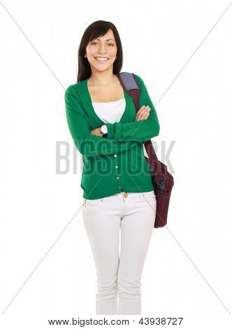 Female student with bag, isolated on white background
