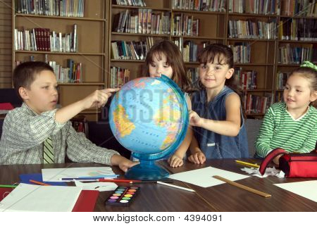 Elementary School Students Studying