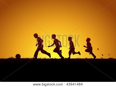 Running boys with the ball