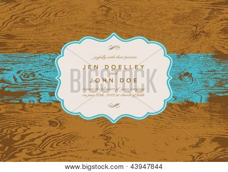 Vector Wood Ornate Frame. Easy to edit. Perfect for invitations or announcements.