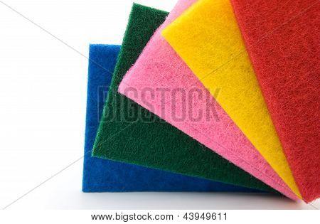 5 Sponges On White Background,horizontal