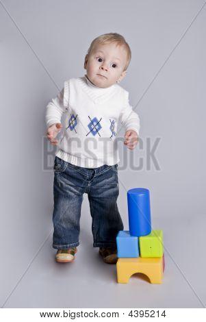 Little Boy Play With Bricks