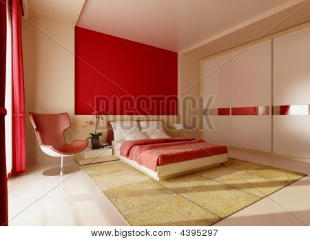 Bedroom In Red Colours