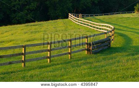 Winding Fence In Meadow
