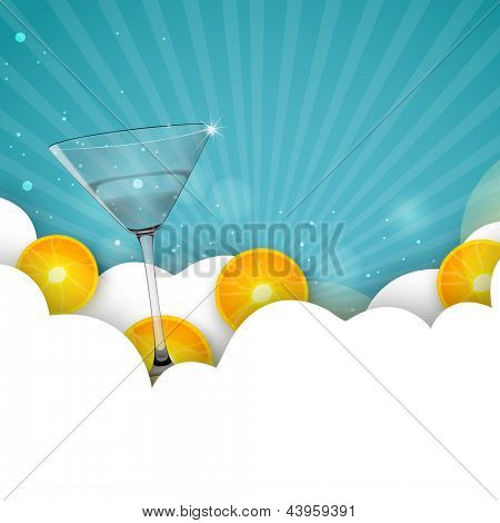 Summer background with cocktails,
