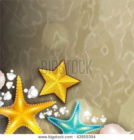 Beautiful summer background with starfish.