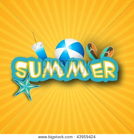 Summer background with flip flops, ball, starfish and drink.