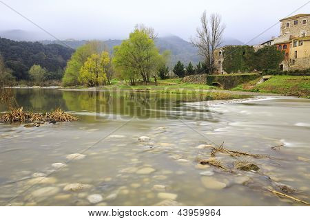 Fluvia River Passing Through Besalu